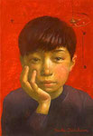 赤い夢 15.8×22.7㎝(SM) 2009 【sold out】 板に油彩・テンペラ(混合技法)