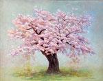 咲いて散って、また咲く 116.7×91(F50)  2019  板に油彩・テンペラ・洋金箔(混合技法)