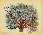 豊穣の木A 22×27.3㎝(F3)  2017 【sold out】 キャンバスに油彩・テンペラ・糸