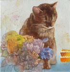 ひだまりは Indian yellow 20×20×3.5  2015 【sold out】 キャンバスに油彩・テンペラ(混合技法)・コラージュ