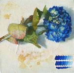 Ultramarineの朝 20×20×3.5  2015  個人蔵 Private Collection キャンバスに油彩・テンペラ(混合技法)・コラージュ