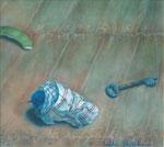 机上の時間 -朝- 22.5×28cm 2001【sold out】 板に油彩・テンペラ(混合技法)