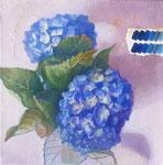 Ultramarineの午後 20×20×3.5  2015 【sold out】 キャンバスに油彩・テンペラ(混合技法)・コラージュ