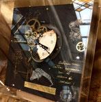 時計-古くて新しい時間- 2016 20×20㎝ 【sold out】 板に油彩・アクリル・アンティークムーブメント