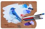 青い鳥B 21.5×28㎝(楕円)2017 木・油彩・筆・ビス