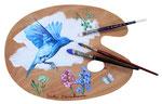 青い鳥A 28×36㎝(楕円)2017 木・油彩・筆・ビス