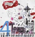 """""""Team 4"""" - Zeichenstift auf Papier, Acryl, Collage - 12 x 12 cm"""