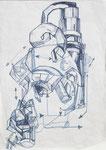 """""""time machine 2"""" - Zeichenstift auf Papier - 21 x 30 cm"""