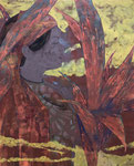 岡田祐佳 高知麻紙、岩絵具、胡粉・65.2×44.5cm 『大地』