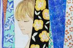 長谷川里香 高知和紙、水干絵具、金泥・4号 『彩る』