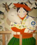 ペルーの民族衣装を着た女の子