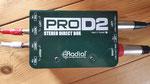Radial Engineering Pro D2: Passive stereo DI-Box von Radial Engeneering, 2 unabhängige ProDI Kanäle, Groundlift, Frequenzgang 20Hz-18kHz, 15 dB Pad, Anschlüsse Klinke in/out, XLR out, speziell für Stereoquellen wie Keyboards, Drum-Computer, PC......