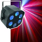 2x Eurolite LED FE-900: Leistungsstarker LED-Flowereffekt mit Strobering, absoluter Blickfang. Hinter den 8 Linsen sind helle R, G, B, W & A LEDs angeordnet; eine Doppelreihe weißer SMD LEDs befindet sich im Zentrum.