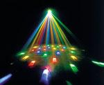 2x Moonflower Lichteffekt, bunte Punkte oder Streifen bewegen sich im gesamten Saal
