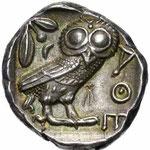 revers d'un tétradrachme d'Athènes frappé vers 450-400 avant JC