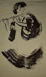 Flötenspieler - Sumi--e