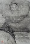 Abhang und Zen-Gestirn?/Sumi-e/1991/48,0x68,5cm/ID: 9S74-1148