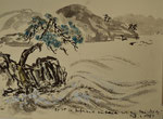 """Zen-Witz"" Japanküste/1987/Tapetenrückseite/53,0x38,0/4S36-0396"