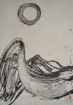 Abstraktion Zen-Kreis und Welle, sumi-e/Dez.1987/48,0x68,0cm/ ID: 7S107-0931,1