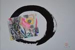 Zen-Kreis, Collage, Kalligraphie/1991/39,0x28,8cm/ ID: 8S31-0964