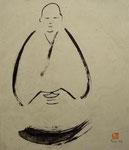 Mönch in Meditation - Sumi-e