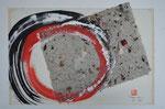 Zen-Kreis, Collage mit selbstgeschöpftem Papier/1987/29,2x21,0cm/ ID: 9S44-1117