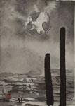 Meer und Dalben/Sumi-e/1991/10,5x15,0cm/ID: M61-0127