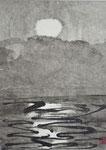 Vollmond über See/Sumi-e/1971/16,6x22,4cm/ID: 9S160-1228/