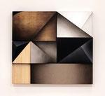 「Fusion Ⅵ」 97.6 x 108.5 x6.1cm アクリル絵具、アルキド絵具、麻布、綿布、集成材、合板、ステンレス、アルミニウム