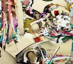 「集積のリズム Ⅳ」 (2013年加筆) 115.1 x 130.4 x 6.4 cm  シルクスクリーン、墨、油絵具、アルキド絵具、綿布 Private Collection