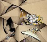 「接 Ⅱ」 97.4x108.2x6cm 油絵具、アクリル絵具、アルキド絵具、綿麻