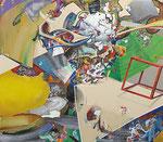 「集積のリズム Ⅲ」 141.4 x 162.3 x 6.1cm 墨、水彩絵具、油絵具、アルキド絵具、綿布