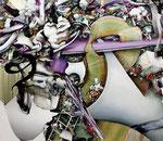 「集積のリズム Ⅴ」 96.2×110.4×5.9cm 墨、油絵具、アルキド絵具、綿布 Private Collection, Germany