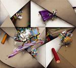 「Fusion IX」 97.5x108.3x6cm 油絵具、アクリル絵具、アルキド絵具、麻布、綿布