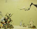 「かくれんぼ。」 91 x 116.7 cm 水彩絵具、油絵具、アルキド絵具、キャンバス