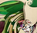 「回転のリズム」 90.1 x 100.1 x 6 cm 墨、油絵具、アルキド絵具、綿布