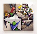 「Fusion Ⅺ」97.4x108.3x6cm アクリル絵具、アルキド絵具、油絵具、 綿布、麻布、綿麻布