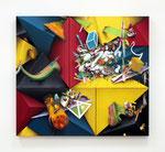 「Fusion Ⅹ」97.4x108.4x6cm  アクリル絵具、アルキド絵具、油絵具、 綿布