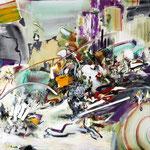 「痕跡のリズム」  145.5 x 145.5 cm 水彩絵具、油絵具、アルキド絵具、オイルパステル、キャンバス Pigozzi ollection , Geneva