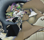 「呼応 Ⅲ」 248 x 272.4 x 6 cm 墨、油絵具、アルキド絵具、綿布、麻布