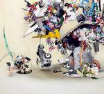 「反乱するイメージ」 130.2×144.6×6.2cm 墨、油絵具、アルキド絵具、綿布 Private Collection, Germany