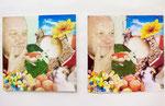 「東京造形大学テンペラ実習」左側:作品、右側:元にした雑誌をコラージュしたもの