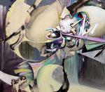 「呼応 Ⅱ」 168.7 x194.1 x 6.1 cm 墨、油絵具、アルキド絵具、綿布