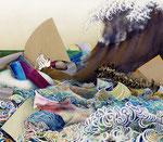 「大海を知る Ⅲ」 (2013年加筆)  141.2 x 162.1 x 6.1 cm 墨、水彩絵具、油絵具、アルキド絵具、麻布 Private Collection, Japan