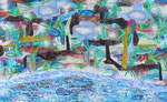 Rise 3mm | 2016 | Acrylic, Vinyl, inks  on paper | 34 x 55 in (86  x 140 cm)