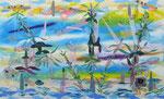 Rhizome Flow Landscape | 2016 | Acrylic, Vinyl, inks  on paper | 34 x 55 in (86  x 140 cm)