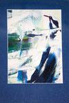 Pinguin auf der Eisscholle, Acryl auf Papier,