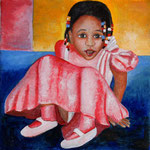 Mädchen mit rosa Kleid, Öl auf Leinwand, 20x20cm, 170 €