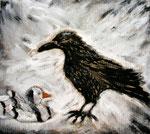 Rabe und Ente, Acryl auf Pappe, 58x 64 cm, 180 €