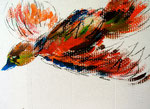 Feuervogel, Acryl auf Pappe,